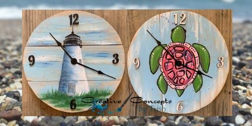Lighthouse & Sea Turtle Clock Paint Night