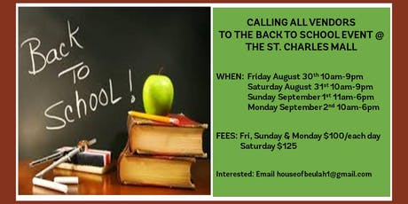Back To School Vendor Event @ The St. Charles Mall tickets
