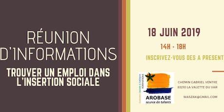 Réunion d'informations : trouver un emploi dans l'insertion sociale billets