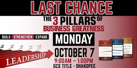 3 PILLARS OF BUSINESS GREATNESS // October 7th // hosted by GCS Title tickets