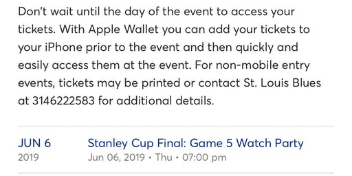 $Best Offer$ | GAME 5 WATCH PARTY | STL Blues | June 6, 2019 | Extra Ticket