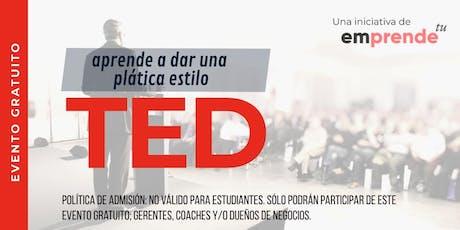 Estilo TED: Aprende a dar conferencias tipo TED Talks. boletos