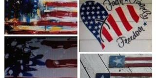 Paint FREEDOM Theme on Wood 6/27 AM