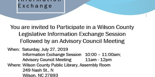 Legislative  Information Exchange/Advisory Council, Wilson, NC