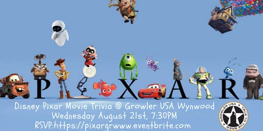 Disney Pixar Movie Trivia at Growler USA Wynwood