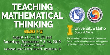 TEACHING MATHEMATICAL THINKING, Grades K-12, Region 1, August-September, 2019 tickets