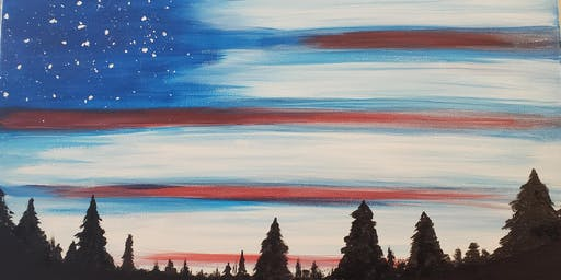 American Flag Sky Painting