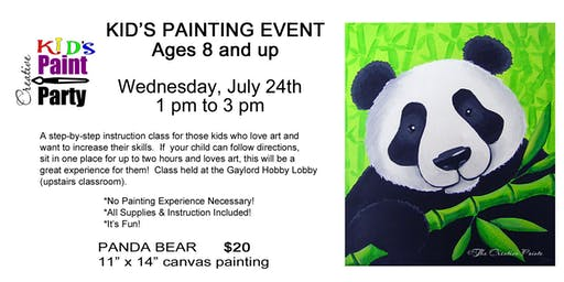 Kids Class--Panda Bear -- Wednesday, July 24   1pm
