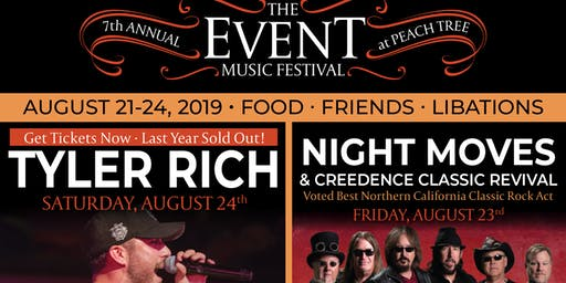 The Event 2019: Four Day Music Festival Headliner Tyler Rich, featuring Temecula Road, Night Moves, Kaylee Starr and more!