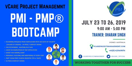 PMP Training | Sydney | Australia | July | 2019 | vCare Project Management tickets