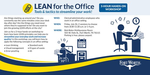 LEAN for the Office: a 3-hour hands-on workshop
