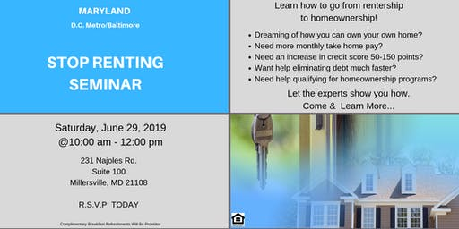 MARYLAND STOP RENTING SEMINAR!! LET THE EXPERTS SHOW YOU HOW!!