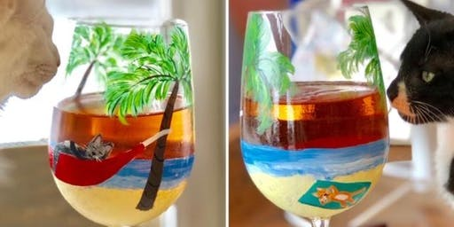 Summer Wine Glass Painting with Cats