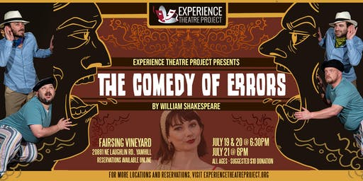 The Comedy of Errors at Fairsing Vineyards - Sunday, July 21 at 6pm
