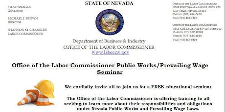 Office of the Labor Commissioner Public Works/Prevailing Wage Seminar (Reno, NV) tickets