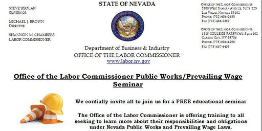 Office of the Labor Commissioner Public Works/Prevailing Wage Seminar (Reno, NV)