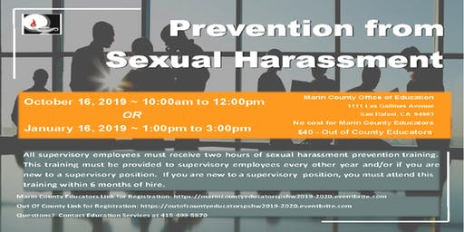 Prevention from Sexual Harassment-Educators outside of Marin County-