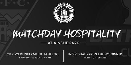 Copy Match Sponsor - Edinbugh City Vs Dunfermline Athletic BetFred Cup Tie tickets