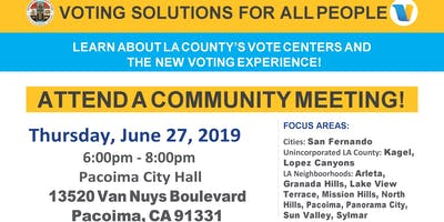New Voting  Centers Community Meeting- Northeast San Fernando Valley