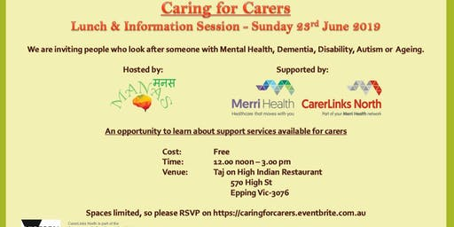 Caring for Carers - Lunch & Information Session (An opportunity to learn about support services available for carers)