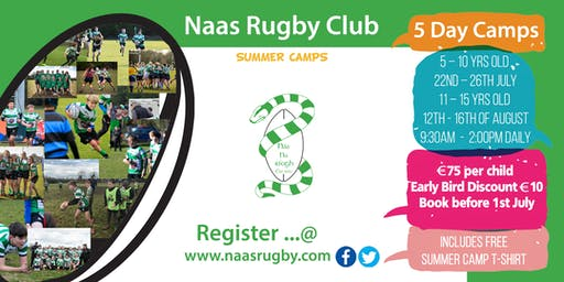 Naas Rugby Summer Camps 11 - 15 yrs