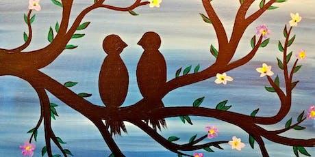 Paint Wine Denver Love Birds Mon Aug 19th 6:30pm $30 tickets