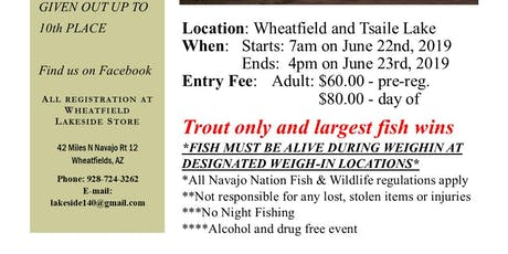 June fishing Contest at Wheatfield and Tsaile Lakes tickets