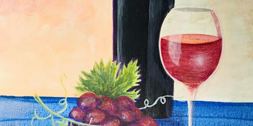 Paint & Sip Night: Wine & Grapes Acrylic on Canvas (Hippo Art Studio)