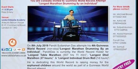 "Guinness World Records ""Longest Marathon Drumming by Individual"" Pandit Das tickets"