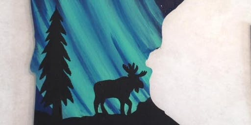 Starry Night Northern Lights 'Mystery' Animal on a Mn Cutout