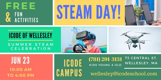 iCode of Wellesley Presents a STEAM Workshop Day (FREE)on June 23rd!