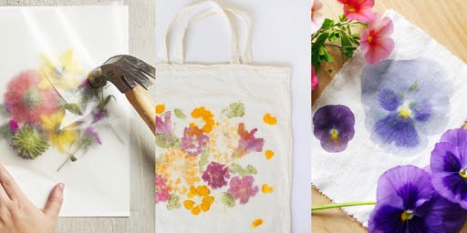 Wildflower Hammering on a Tote Bag