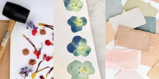 Natural Dye & Wildflower Hammering on Stationery