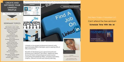 Create and Optimize Your LinkedIn Profile | Find A Job | Grow Your Network