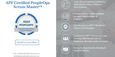 Agile PeopleOps Framework Certified PeopleOps Scrum Master (APF CPSM)™| Boston, MA | Aug 23-24, 2019 tickets