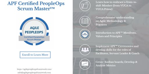 Agile PeopleOps Framework Certified PeopleOps Scrum Master (APF CPSM)™| Edison, NJ | Sep 7-8, 2019