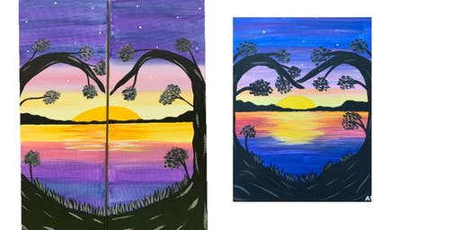 """Date Night or Single Adult  Open Paint """"Love at Sunset"""""""