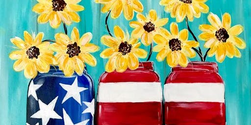 Flowers in Patriotic Mason Jars - Acrylic Painting Class - Mount Ulla