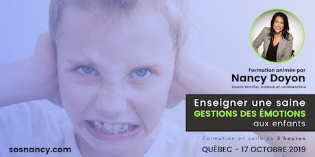 Formation : Enseigner une saine gestion des émotions aux enfants. billets