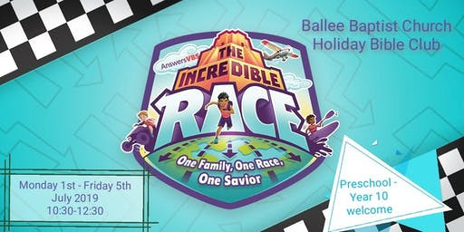 The Incredible Race Holiday Bible Club Mon 1st - Fri 5th July 10:30-12:30