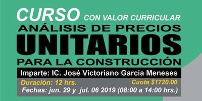 CURSO DE ANÁLISIS DE PRECIOS UNITARIOS