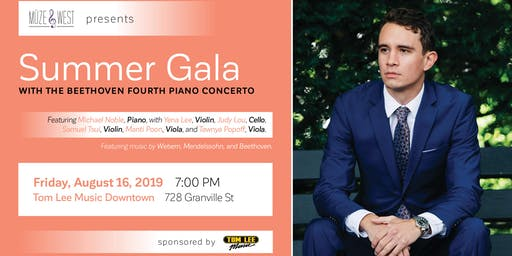 Müzewest Concerts Presents a Summer Gala with the Beethoven Fourth Piano Concerto