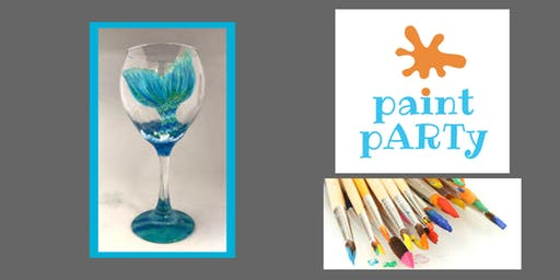 All Ages Paint Party Two Wine Glasses - Mermaid's Tail - $35 pp