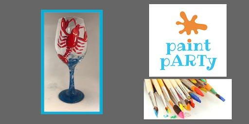 Paint'N'Sip Two Wine Glasses - Lobstah - $35 pp