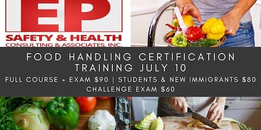 Food Handling Certification Training July 10