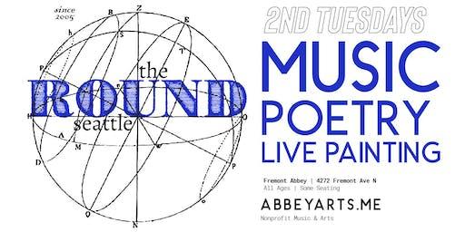 The Round (170) musicians Pepper Proud, Cooper Stoulil, Samantha McKaige + Spoken Word Poet Laura Wachs + Live Painter Ariel Parrow