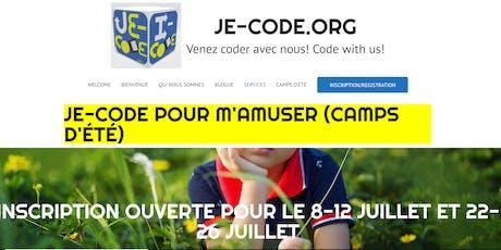Camp d'été Je-code.org/I-code.org Summer camp ( 08/07/19 - 12/07/19) tickets