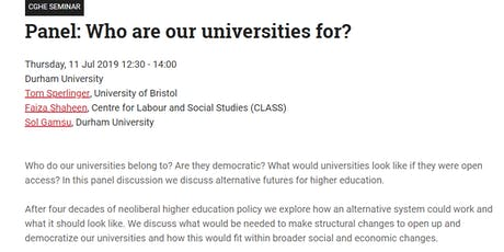 Who are our universities for? tickets