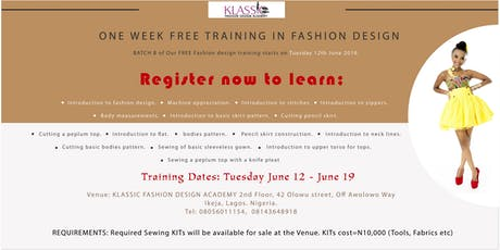 FREE FASHION DESIGN TRAINING 2 tickets