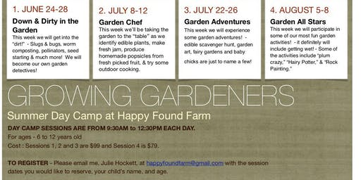 "Growing Gardeners""  Kids Summer Day Camp"